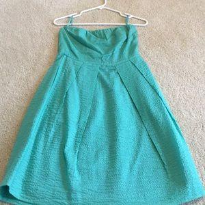 J. Crew Strapless Seersucker Green Dress